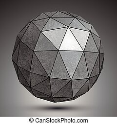 Galvanized dimensional sphere, metal perspective object.
