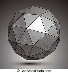 Galvanized facet 3d sphere, metal abstract object.