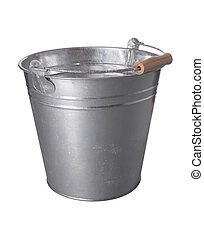 galvanized metal bucket isolated on a white background