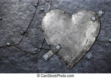 galvanized metal heart - Photo of a galvanized metal heart...