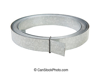 Galvanized metal strip in a roll. Isolated. White...