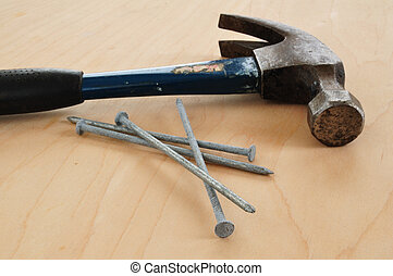 Galvanized Nails and a Claw Hammer