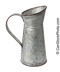 Galvanized Pitcher isolated with a clipping path