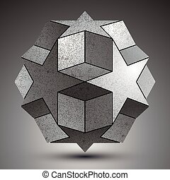 Galvanized spherical 3d object created from star shapes and...