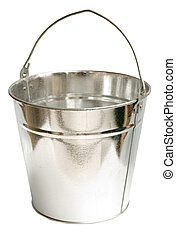 Galvanized steel bucket shot on a white background, includes Clipping Path