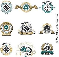 gamão, clubes, estilo retro, emblemas