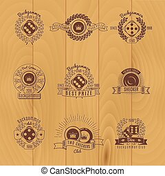 gamão, monocromático, emblemas