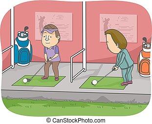 gama, golf, conducción, ilustración, hombre