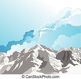 gama, neve, montanha, capped