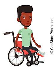 gamba rotta, wheelchair., equipaggi seduta