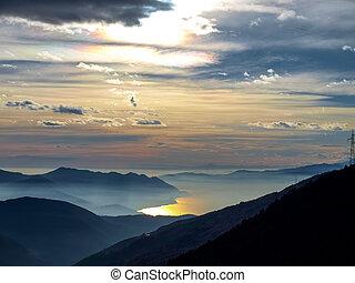 sunset over the lake maggiore