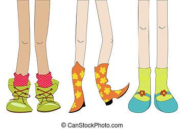 gambe, e, scarpe