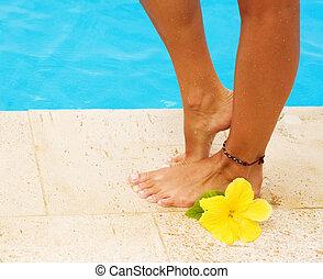 gambe, in, il, nuoto, pool., vacanza, concetto