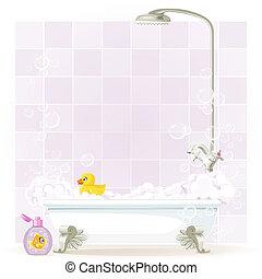gambe, pieno, schiuma, vasca bagno