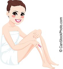 gambe, rasoio, rasatura, donna