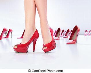 gambe, scarpe, alto-tallone, rosso