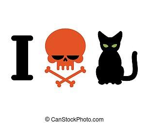 gamberros, símbolo, víctimas, odio, alergia, logotipo, odio, pets., cats., cráneo