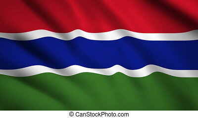 Gambia flag Motion video waving in wind. Flag Closeup 1080p HD footage