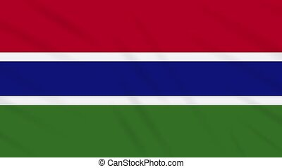 Gambia flag waving cloth, ideal for background, loop