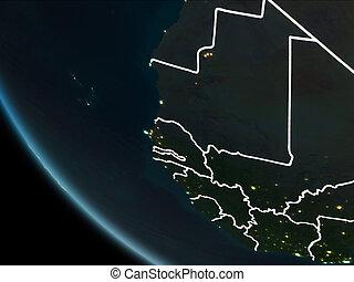 gambia, hold kilátás, éjszaka