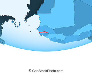 Gambia in red on blue map