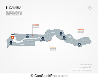 Gambia infographic map vector illustration.