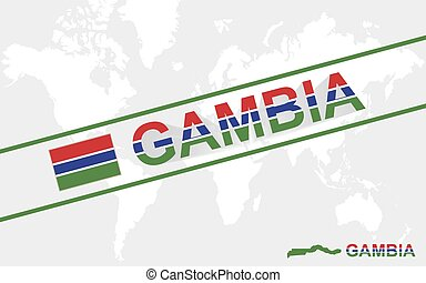 Gambia map flag and text illustration
