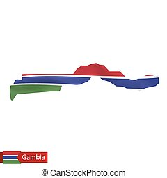 Gambia map with waving flag of country.