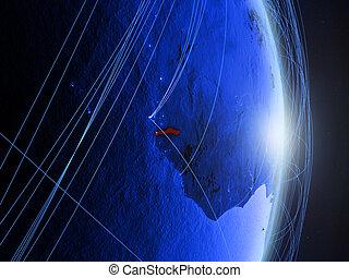 Gambia on blue blue digital Earth