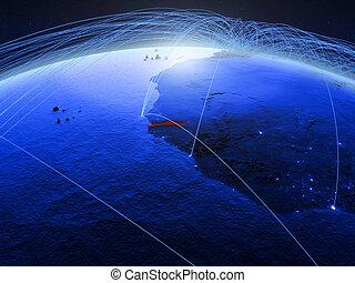 Gambia on blue blue digital globe