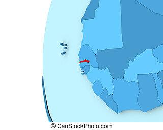 Gambia on blue globe