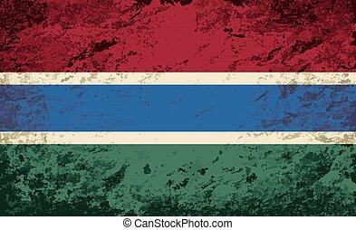 Gambian flag. Grunge background.