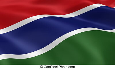 Gambian flag in the wind