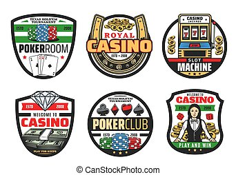 Gamble games, casino poker cards and dice - Casino icons,...