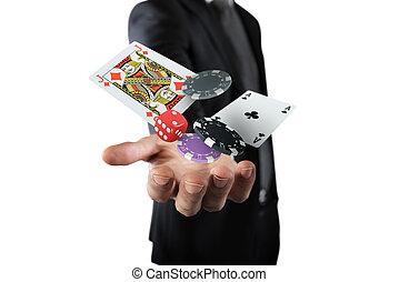 Gambler makes his bet - Rich Gambler makes his bet with...