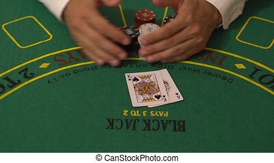 Gambler Put Blackjack Cards on Casino Table, 21 Ace King...