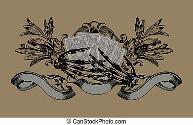 Gambler Sign. Skeleton Hands. Playing Cards. Vector Illustration.