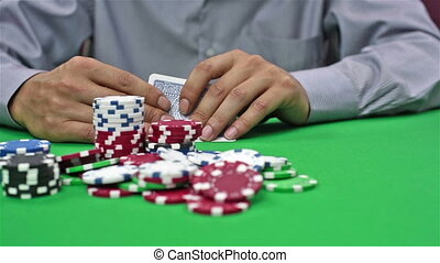 Gambler Takes Casino Jackpot, Close Up