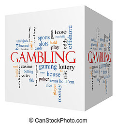 Gambling 3D cube Word Cloud Concept