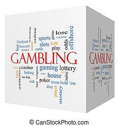 Gambling 3D cube Word Cloud Concept