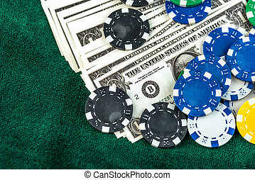 Gambling American Money and Chips