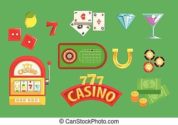 Gambling And Casino Night Club Set Of Symbols, Including...