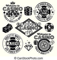 Gambling and casino vector black emblems, elements
