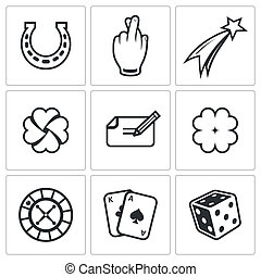 Gambling and fortune icon set