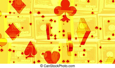 Gambling background golden stacks of hundreds and red and gold card suits loop