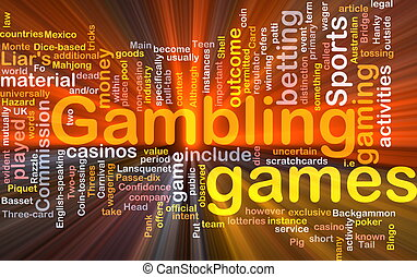 Background concept wordcloud illustration of gambling betting gaming glowing light