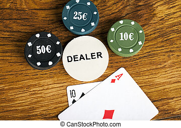 Gambling blackjack concept with betting chips and cards