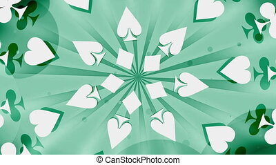 Gambling Card Suits in Green Looping Animated Background