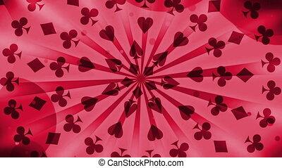 Gambling Card Suits in Red Looping - Gambling Card Suits in...