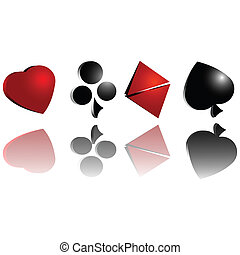 Gambling cards symbol over white background